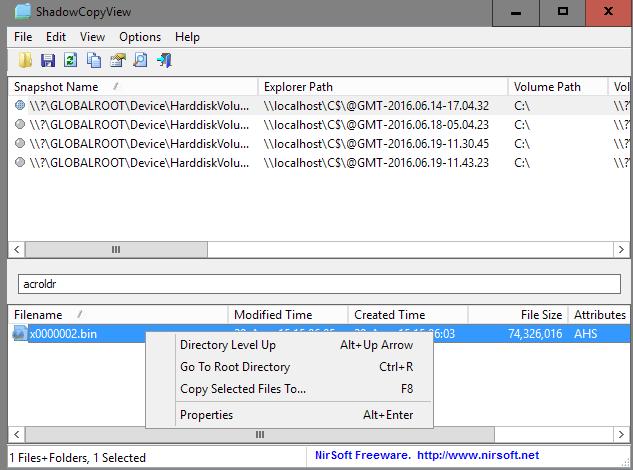 Mengelola file Shadow Copy dengan ShadowCopyView