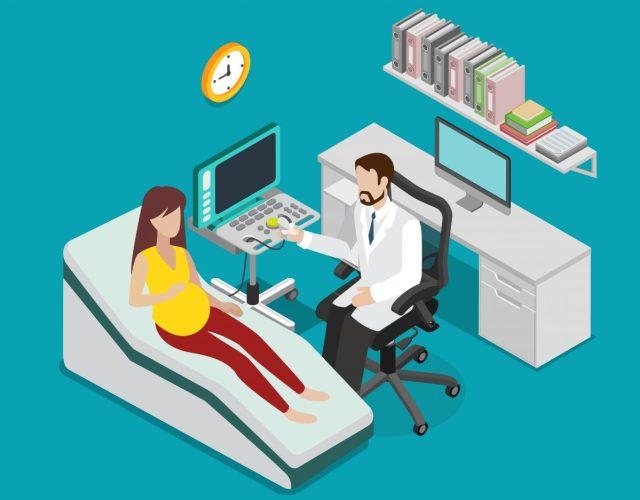 임신준비를 위해 산부인과 진료를 보는 여성.
