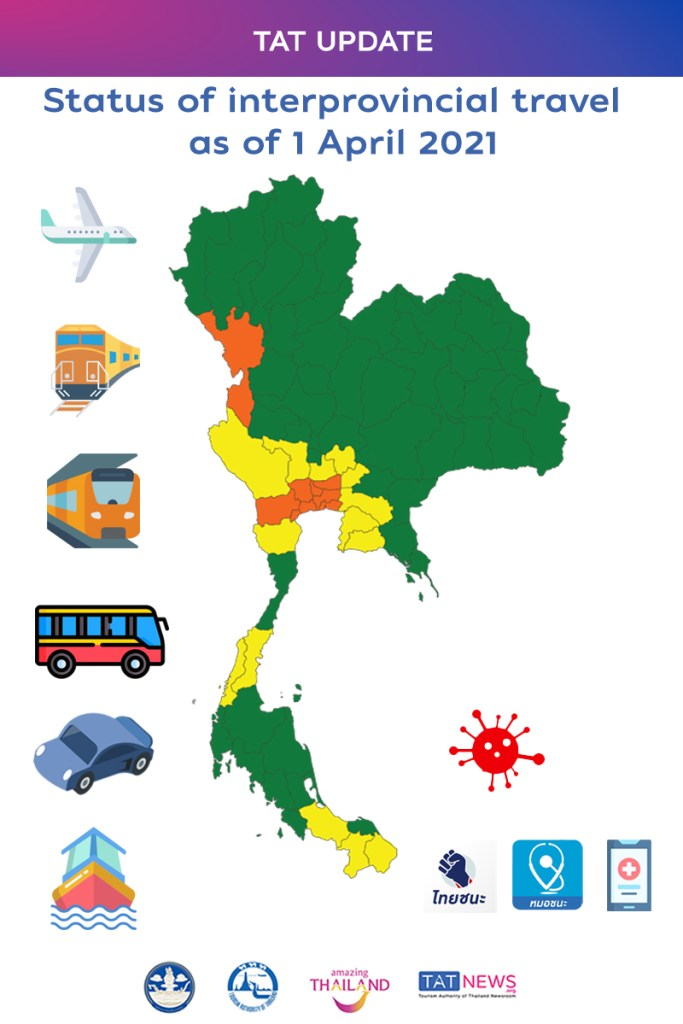Updated status of interprovincial travel in Thailand as of 1 April 2021