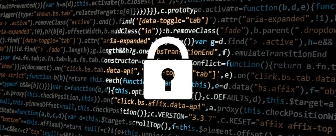 A screen displaying codes and a lock