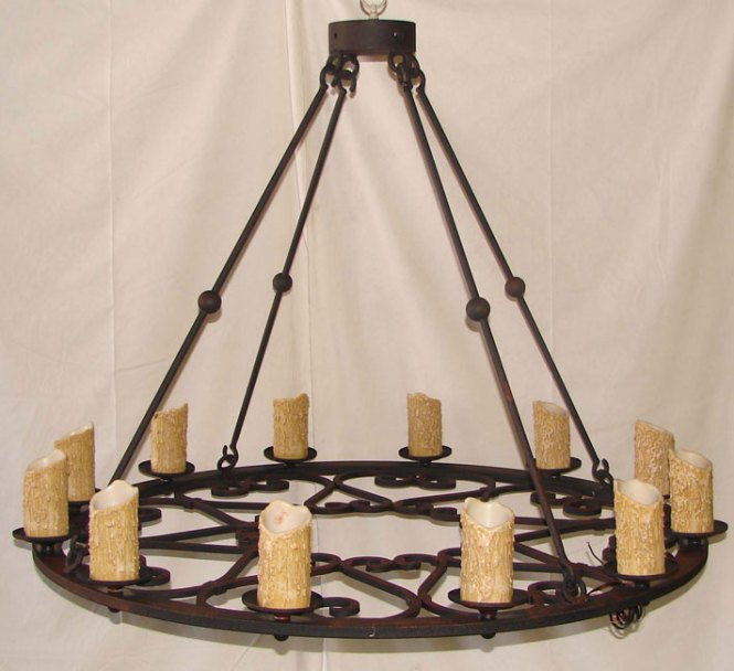 Spanish Colonial Chandelier Lighting Hacienda Style Round Forged Iron Chandelier1