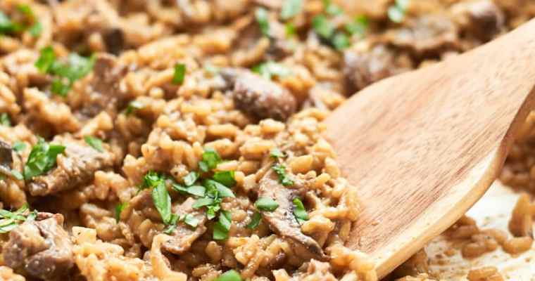 Mushrooms risotto in pan 2