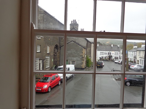Looking out to the village of Cartmel from the cafe's window