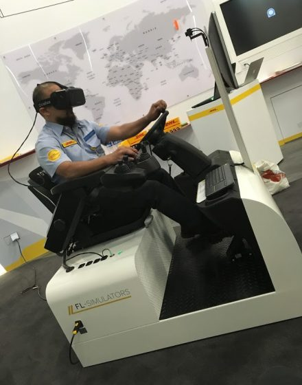 Forklift simulator at DHL in Singapore
