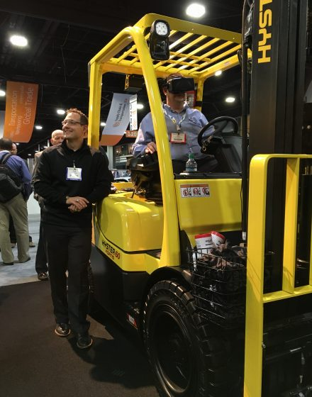 Virtual Reality training on a real Forklift at Modex 2016