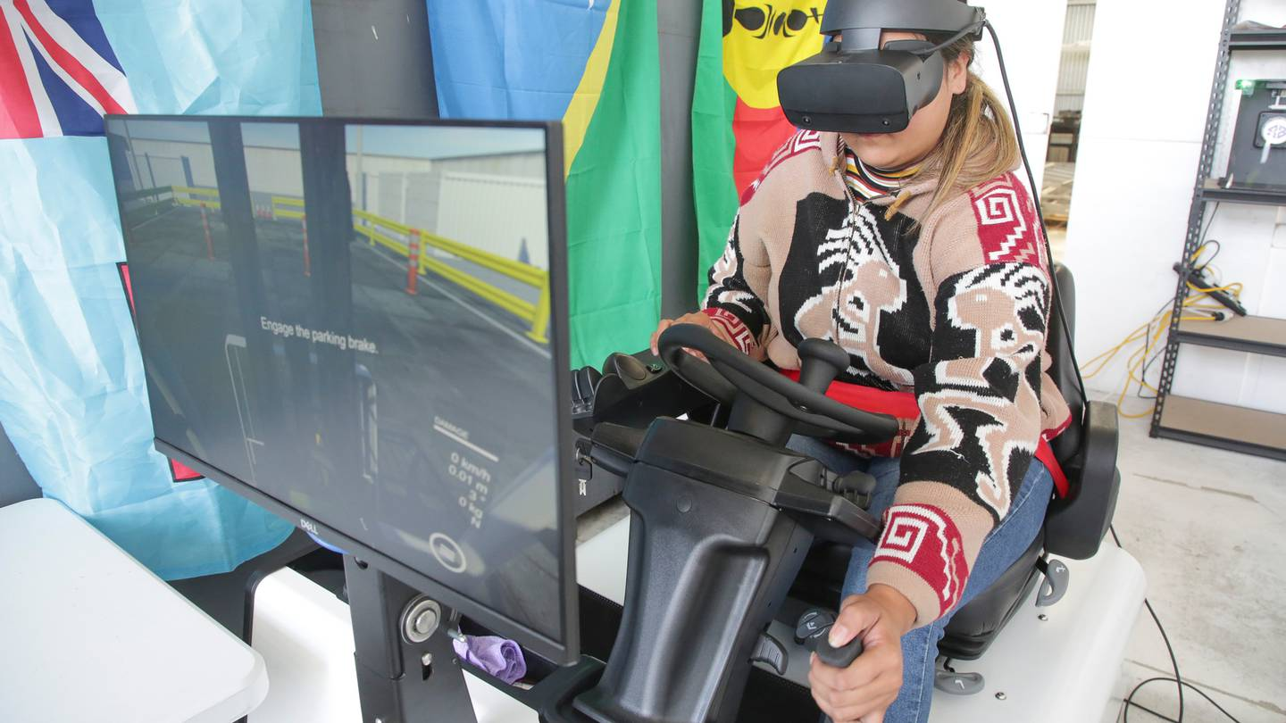 Teruhia Sullivan-O'Donnell of Hastings is one of the new cadets on the two-week virtual reality forklift training programme. Photo / Warren Buckland
