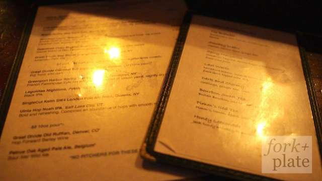 Whiskey & Beer Menus