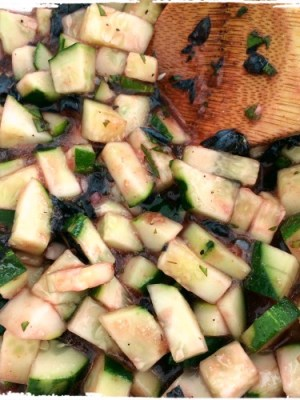 cucumber salad with blueberry and thai basil vinaigrette