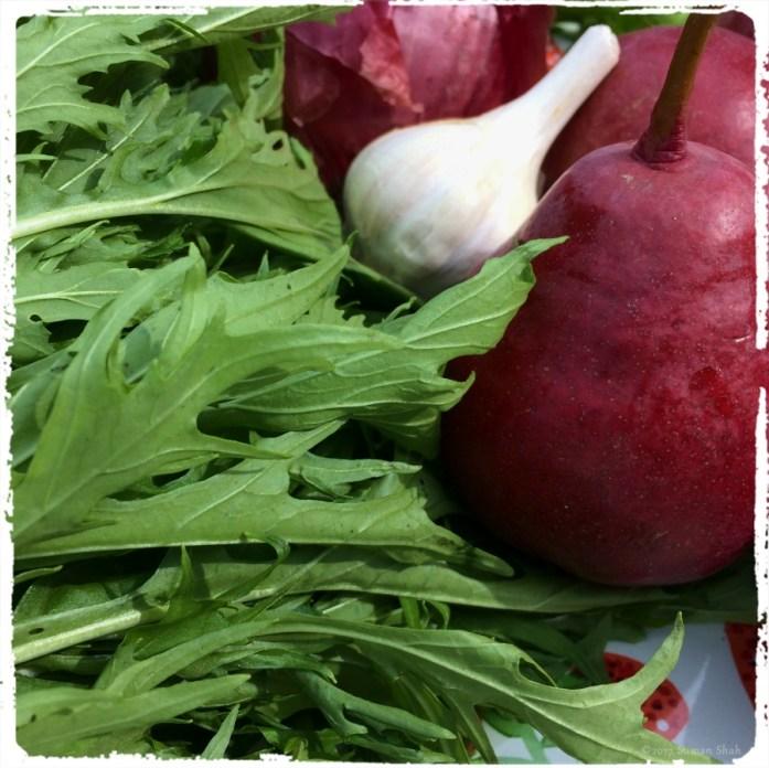 mizuna and pears