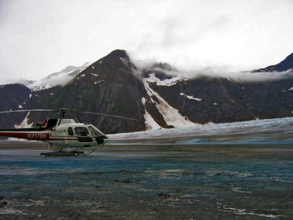 helicopter on glacier Alaska