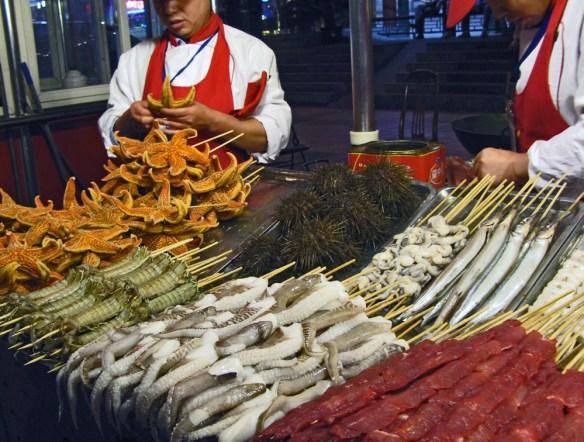 Beijing Night Market starfish, sea urchins and more