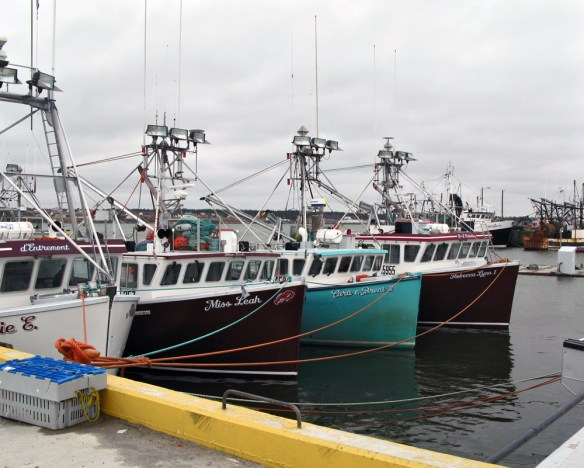 lobster boats in row Acadian Rappie Pie