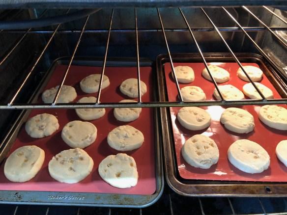 Ginger shortbread cookies in oven