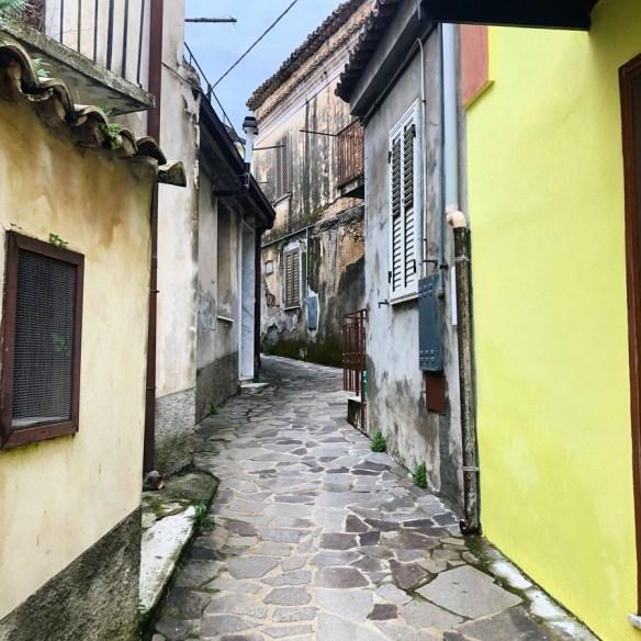 narrow street winding between houses