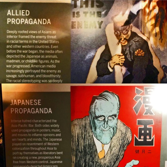 World War II posters - an Allied one represents Japanese as evil character and the Japanese poster depicts Roosevelt as almost a Frankenstein figure