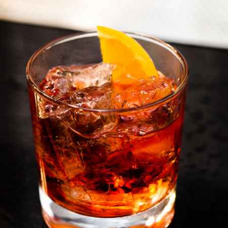 photo of a glass of negroni cocktail