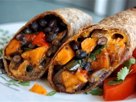 roasted veggie black bean burrito