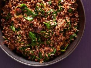 red rice spinach cherries