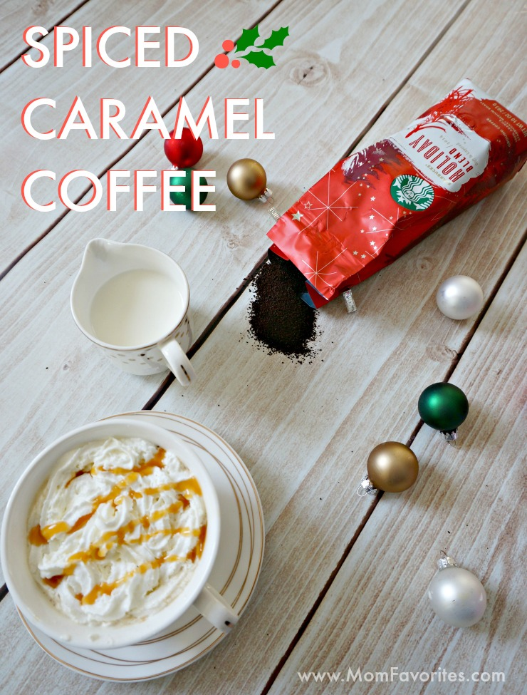 Coffee gets dressed up with Starbucks Holiday Blend in this Spiced Caramel Coffee recipe.  Treat yourself or entertain holiday guests with this delicious drink meets dessert.