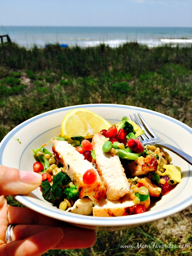 Simple ingredients and easy prep makes this California Power Salad Recipe the perfect menu item for your summer beach week vacation!