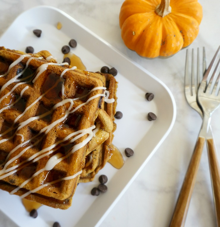 Don't miss this amazing Pumpkin Spice Chocolate Chip Waffles recipe. Made even easier by using Libby's® Pumpkin Bread Kit! Perfect for digging into right away or freezing for busy on-the-go mornings.