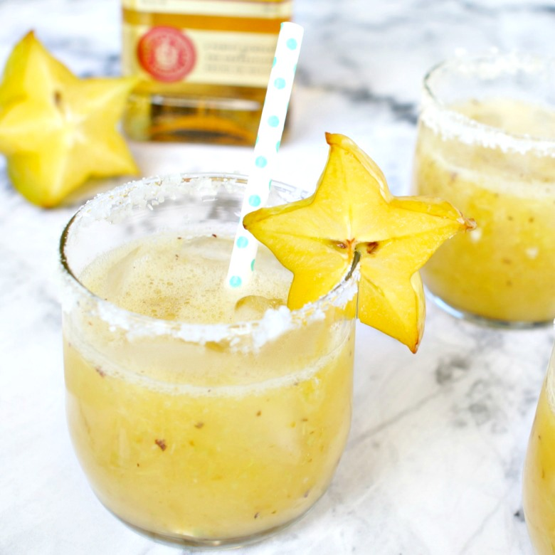 Swap out grapefruit juice for pureed starfruit and lime to make this delicious Starfruit Paloma Recipe.  The perfect party spring cocktail to serve up this weekend!