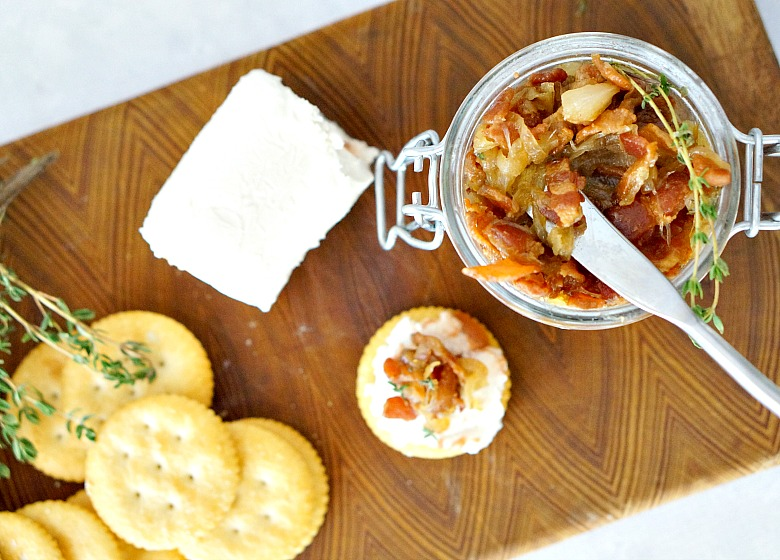 Sweet and salty. Creamy and smooth. RITZ Crackers with Caramelized Onion and Bacon Jam, served with Guava Goat Cheese will be your new favorite appetizer. Perfect for entertaining or as a family snack!