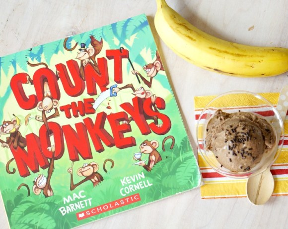 """Celebrate the silliness of """"Count the Monkeys"""" by Mac Barnett with this four-ingredient, healthy, banana ice cream recipe! A clean-eating, guilt-free and no-churn ice cream your whole family will love! From the popular Kitchen Stories series on Forks and Folly."""