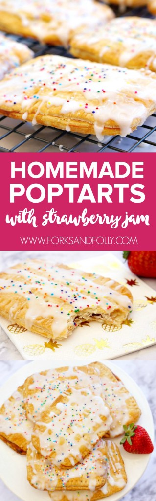 Homemade Pop Tarts, y'all!  With fresh strawberry jam!  Have an abundance of strawberries this spring?  These homemade pop tarts will have your family swooning.  #52WeeksofSweets #Week12