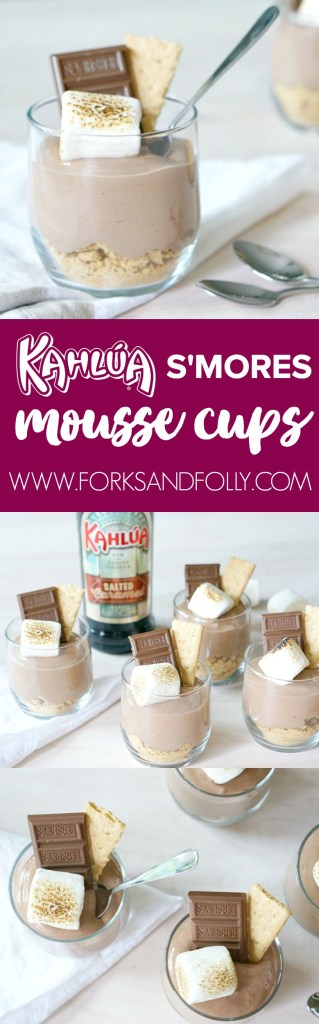 Hello, Week 15 of #52WeeksofSweets. This recipe for Kahlua S'mores Mousse Cups just might be my favorite so far. Crumbled Grahams, coffee-chocolate mousse, and a torched marshmallow.... Skip dinner tonight and head right to dessert! We won't tell.