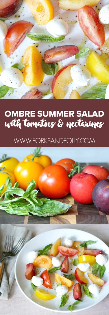 Let summer produce shine in with a collection of red, orange and yellow ombre fruits .  Our Ombre Summer Salad with Heirloom Tomatoes and Nectarines is a beautiful centerpiece for any summer meal.