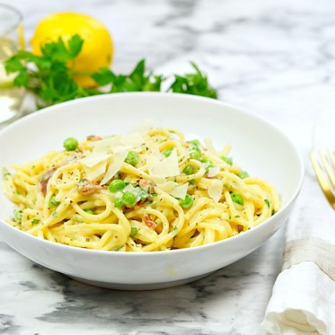 If you've never made pasta carbonara at home, give this recipe a try! This One Pot Pasta Carbonara is comfort food at it's best - loaded with cream, cheese and bacon! Check out our Pasta Carbonara video below to see just how easily this recipe comes together!