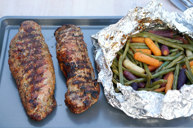 Are your weeknights as hectic as mine? This four-ingredient Grilled Pork Tenderloin and Foil Packet Veggies dinner comes together in less than 30 minutes. Bonus for easy little clean-up! The perfect solution for busy back-to-school evenings!