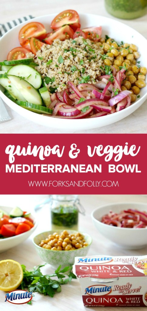 Power through your day with this veggie and protein packed Quinoa and Veggie Mediterranean Lunch Bowl!  Dairy-free, vegan, and full of flavor, this easy grain bowl will become a lunch-time favorite!