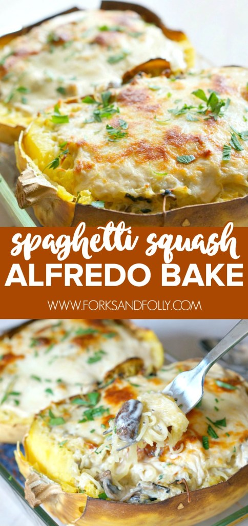 With just four ingredients, this make-ahead Spaghetti Squash Alfredo Bake is not only easy to make... it's absolutely delicious! Add in cooked chicken or shrimp to add some protein to this vegetarian dish.