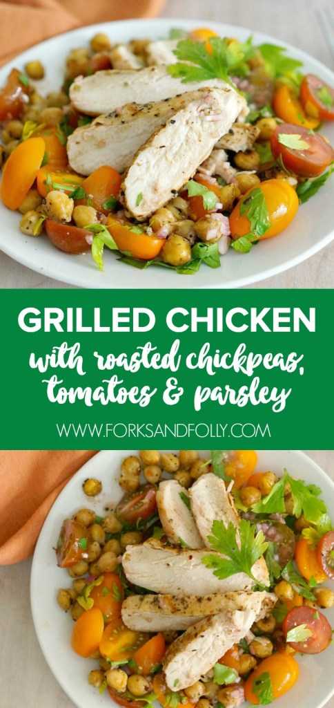 Sweet tomatoes, fresh parsley, roasted garbanzo beans and Greek-spiced grilled chicken, yes please! Tons of flavor and healthy ingredients make this Grilled Chicken with Roasted Chickpeas salad a hearty meal perfect for weeknight dinners or weekend lunches.