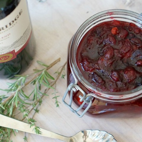 Sangria Cranberry Sauce brings the party to your Thanksgiving meal!  This sweet and spiced Sangria Cranberry Sauce is the perfect complement for your turkey dinner.
