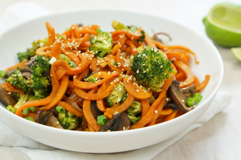 Fresh veggies take center stage with this sweet potato zoodle stirfry!  No guilt and plenty of flavor will make this zoodle recipe a go-to weeknight dinner.