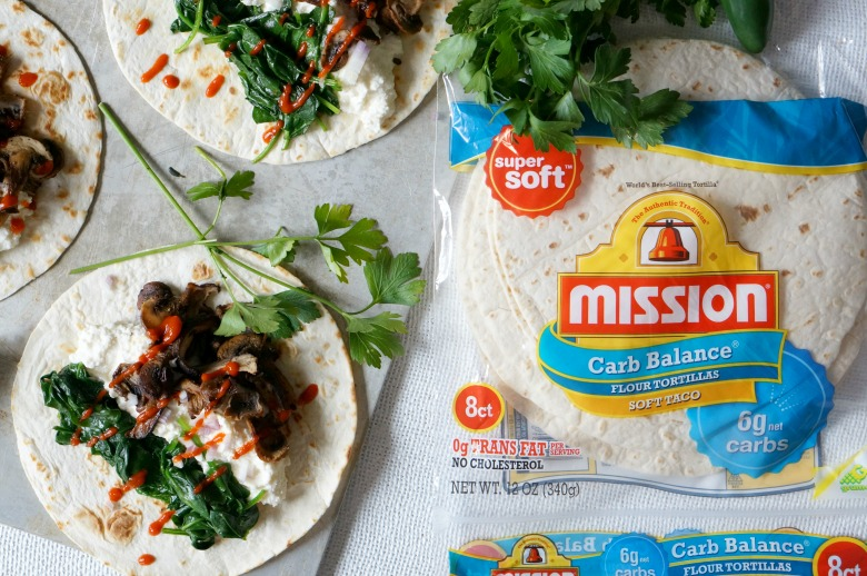 Spinach & Ricotta Wild Mushroom Tacos are the perfect solution for your menu plan in the New Year. Low in carbs and high in flavor, this delicious vegetarian taco dinner is a family favorite recipe.