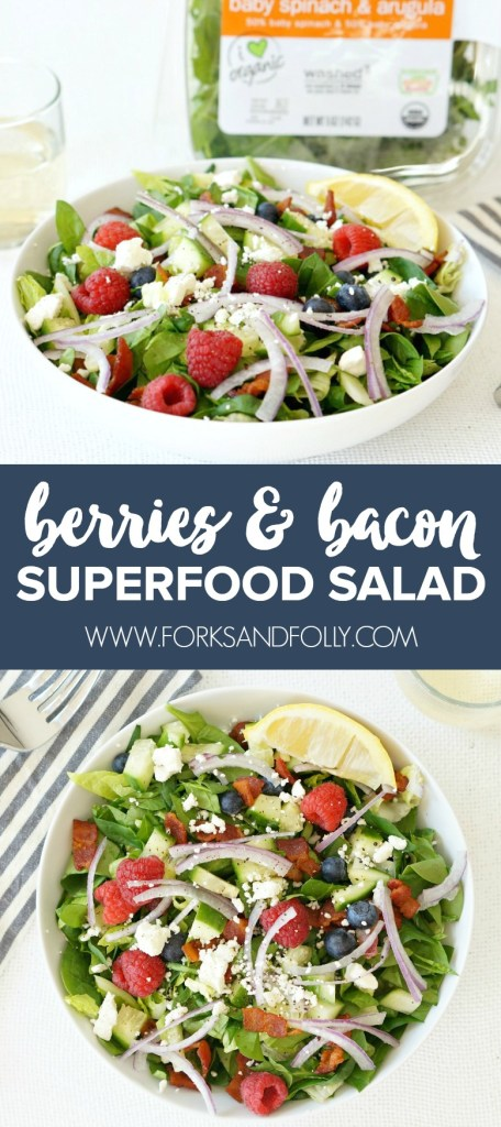 Our Bacon & Berries Superfood Salad offers the perfect blend of good-for-you nutrients and tasty, tasty goodness.  Loaded with superfoods and a few favorite naughty ingredients (hello bacon!), this is a salad that makes sticking to resolutions easy!