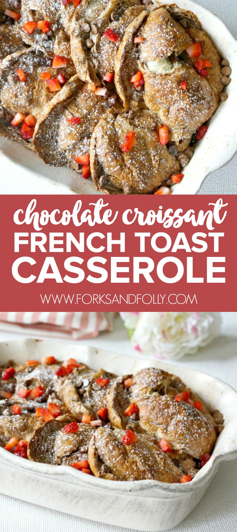 Chocolate caramel sauce and croissants baked up french toast style!! This perfect croissant french toast bake is the perfect spring brunch casserole.