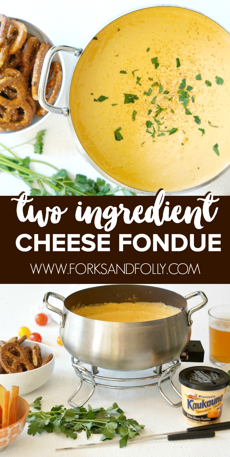 Last minute entertaining stays low stress with this two ingredient Kaukauna® Cheese Fondue recipe.  Effortlessly chic and easy to serve with a variety of dippers.