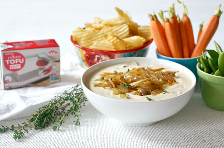 Our mayo-free caramelized onion dip is perfect for vegans. But, I'm guessing no one will know that the main ingredient in this recipe is silken tofu!