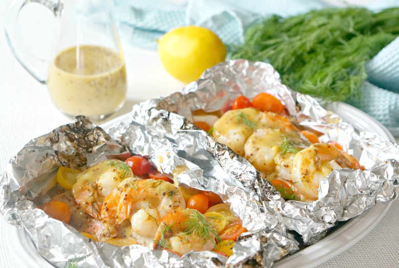 Grilled Seafood Foil Packs with Shrimp & Salmon