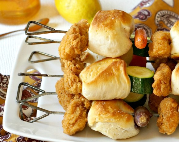 Chicken Nugget Dinner on a Stick is the recipe you need for happy family dinners this summer!  Mix and match veggies with biscuits and Tyson® Any'tizers Popcorn Chicken for a meal all will love.