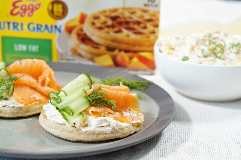 Smoked Salmon Waffles with Veggie Cream Cheese