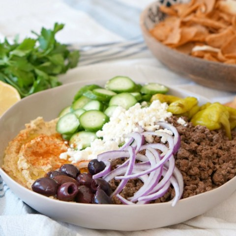Loaded Hummus with Spiced Lamb and Veggies