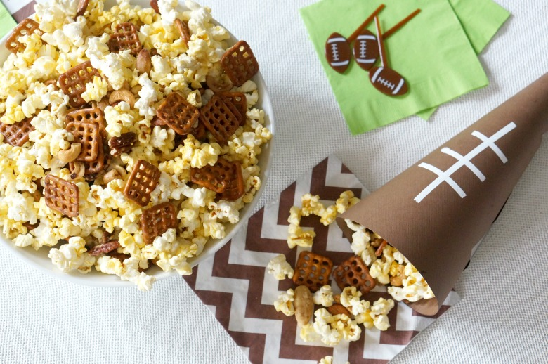 Get ready for the big game with our Victory Popcorn Recipe served up in these easy to make football cones!