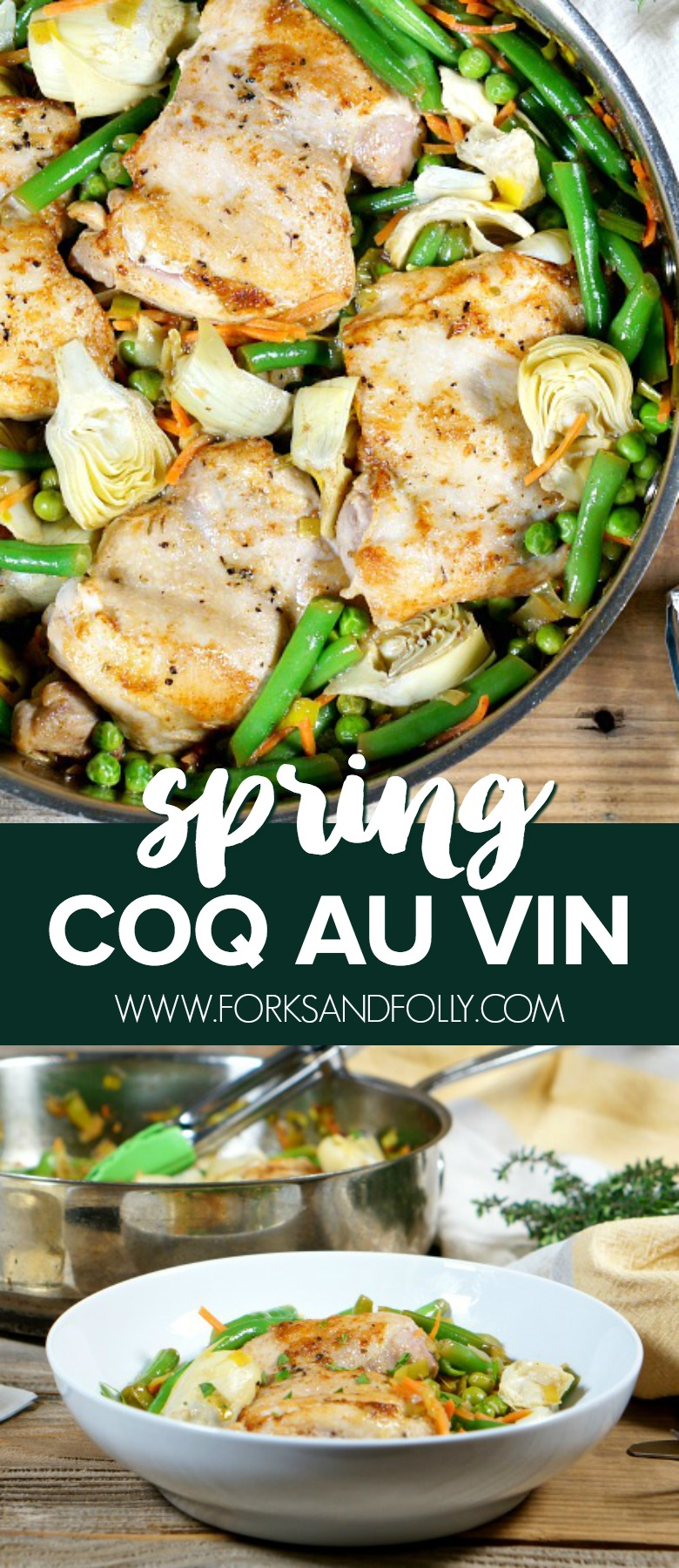 Our version of Spring Coq au Vin takes a lighter approach to this classic French dish with seasonal veggies and a light butter-wine sauce.