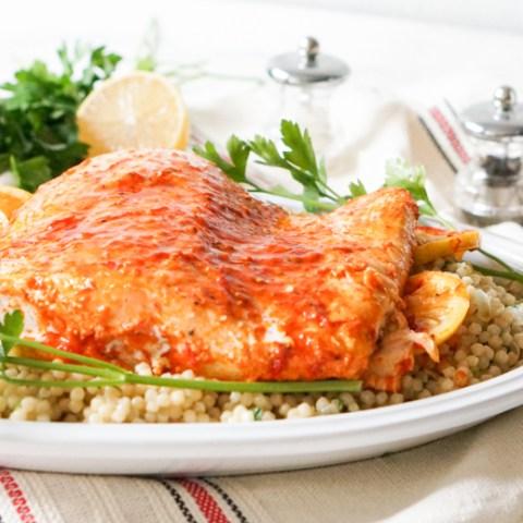 Slow Roasted Harissa Salmon with Lemon Couscous